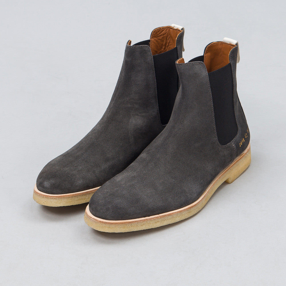 Common Projects Chelsea Boot in Washed Black Suede 2018-0514