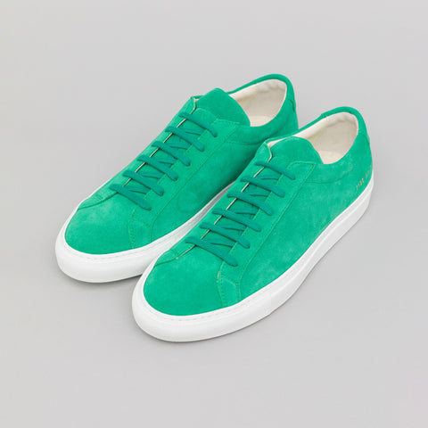 Common Projects Achilles Low Suede in Green - Notre