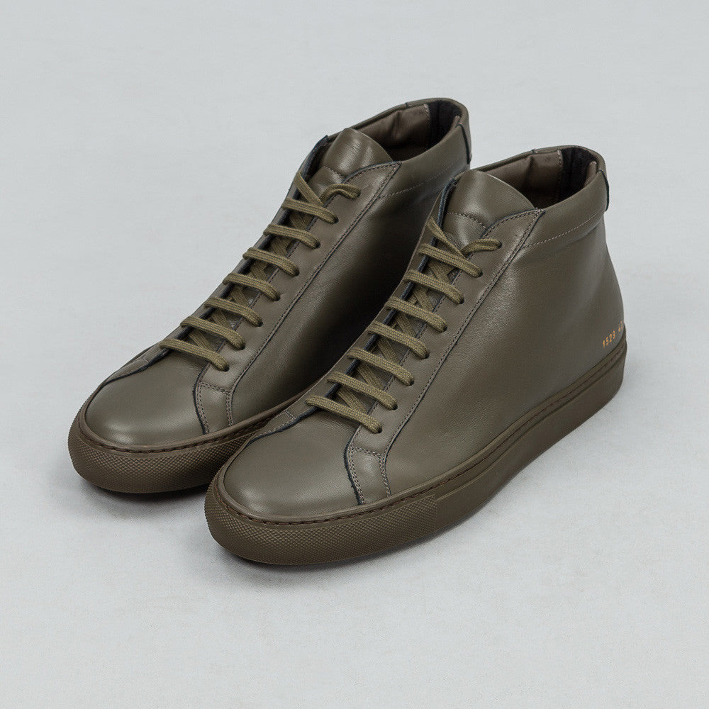 Common Projects Achilles Mid in Army Green Side View