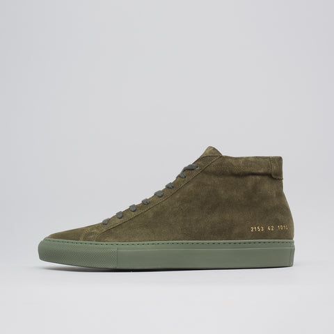 Common Projects Achilles Mid Suede in Olive - Notre