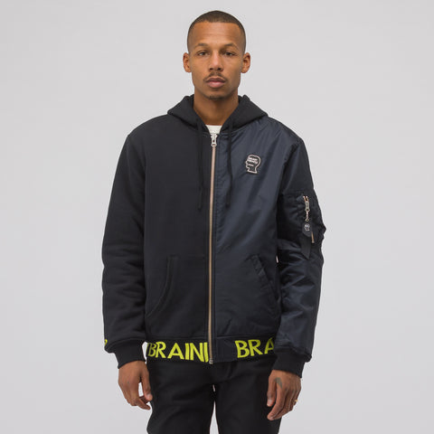 Converse x Brain Dead Hooded Bomber Jacket in Black - Notre