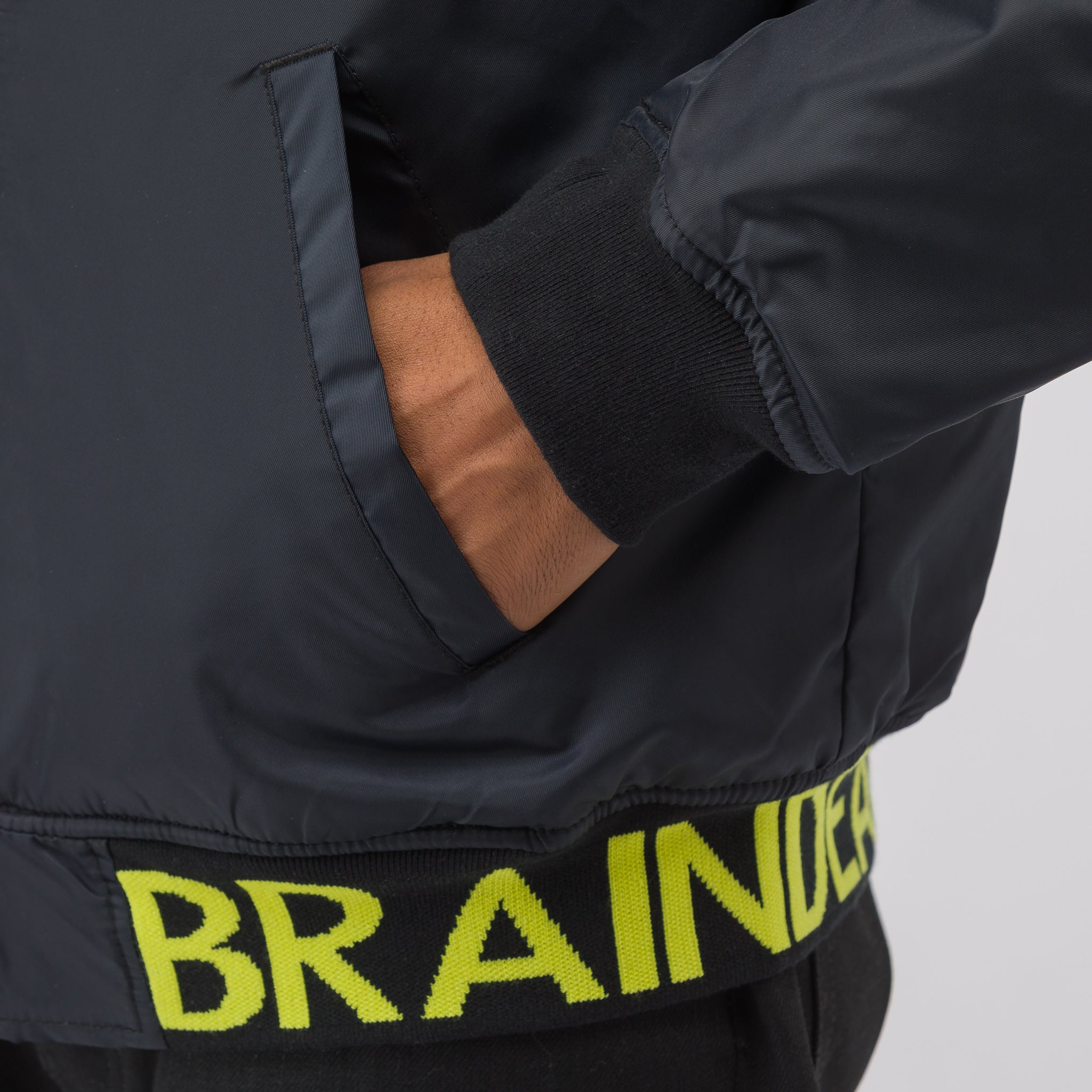 x Brain Dead Hooded Bomber Jacket in Black