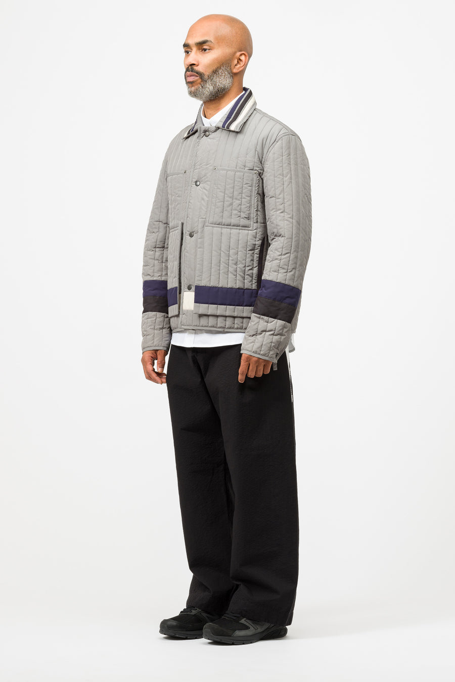 Craig Green Paneled Quilted Worker Jacket in Grey - Notre