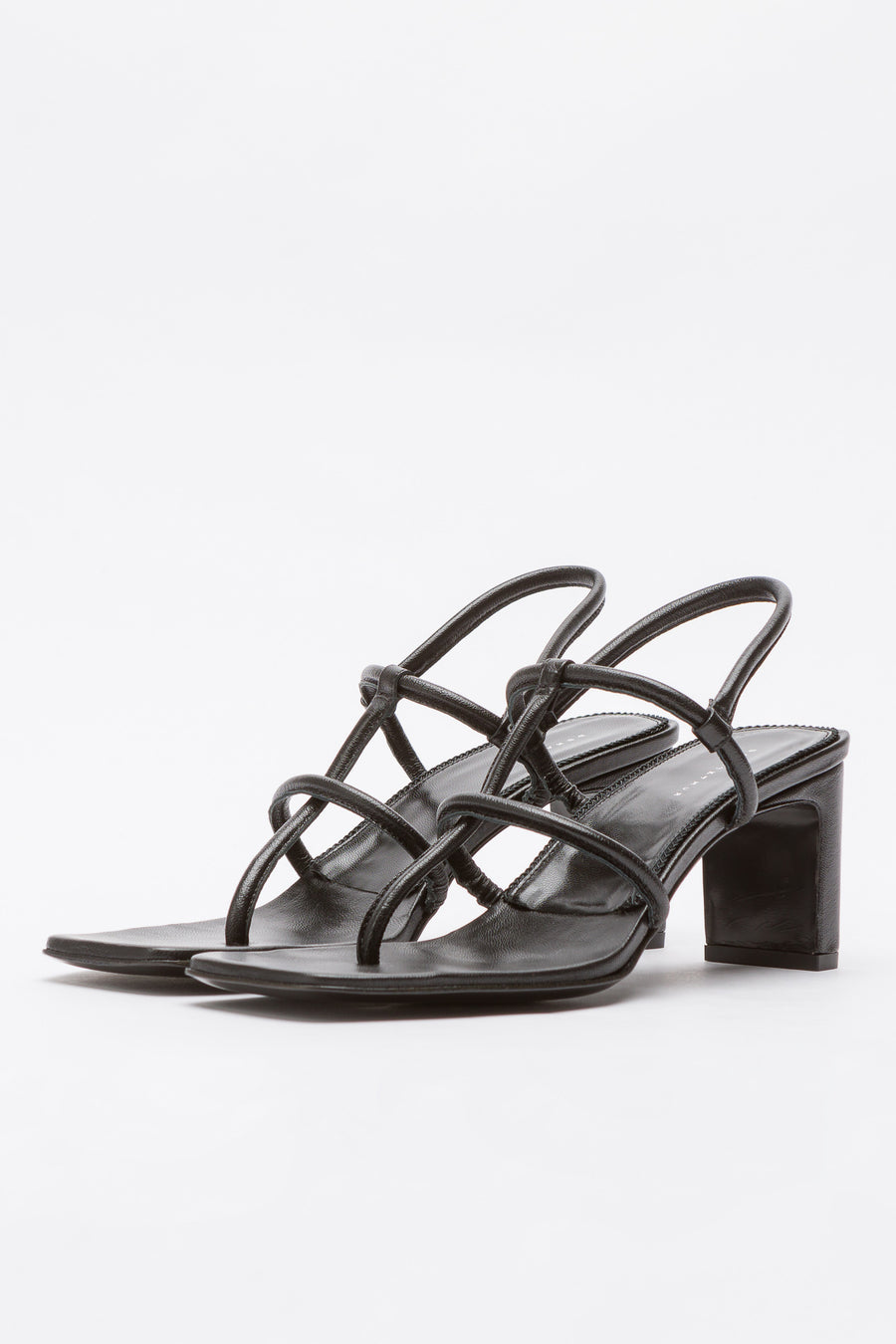 Dorateymur Thong Sandal in Black Metallic Leather - Notre