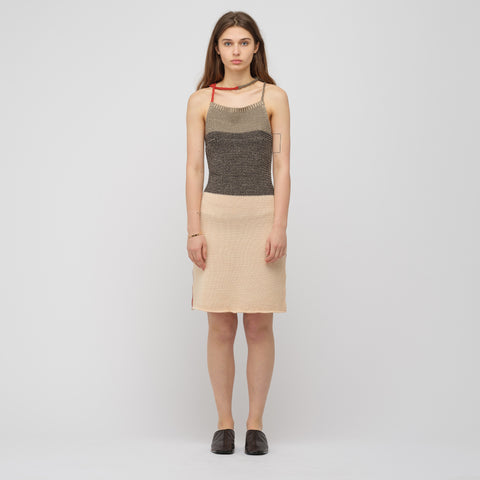Eckhaus Latta Decolete Knit Dress in Peach Multi - Notre