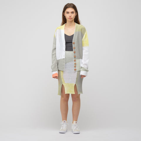 Eckhaus Latta Painted Knit Cardigan in Paper Mache Grey - Notre