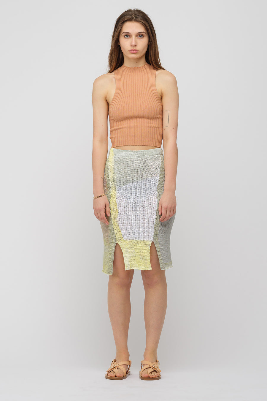Eckhaus Latta Painted Knit Skirt in Paper Mache Grey - Notre