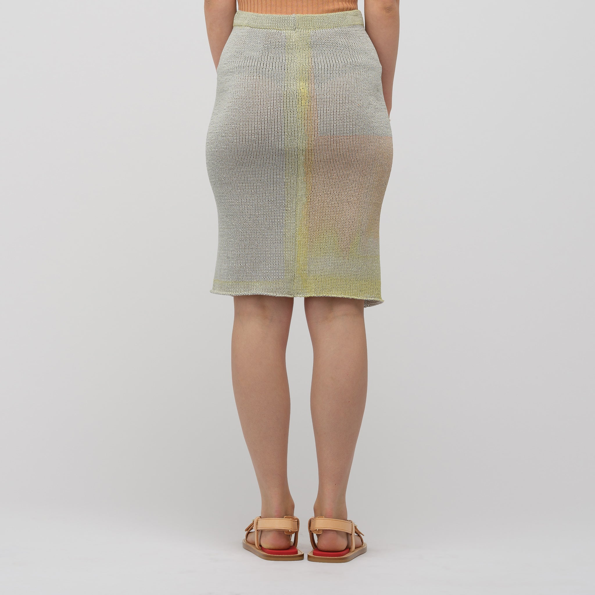 Painted Knit Skirt in Paper Mache Grey