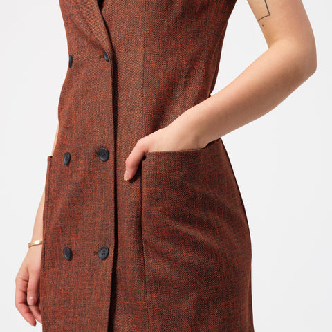 Eckhaus Latta Sleeveless Blazer Dress in Ember - Notre