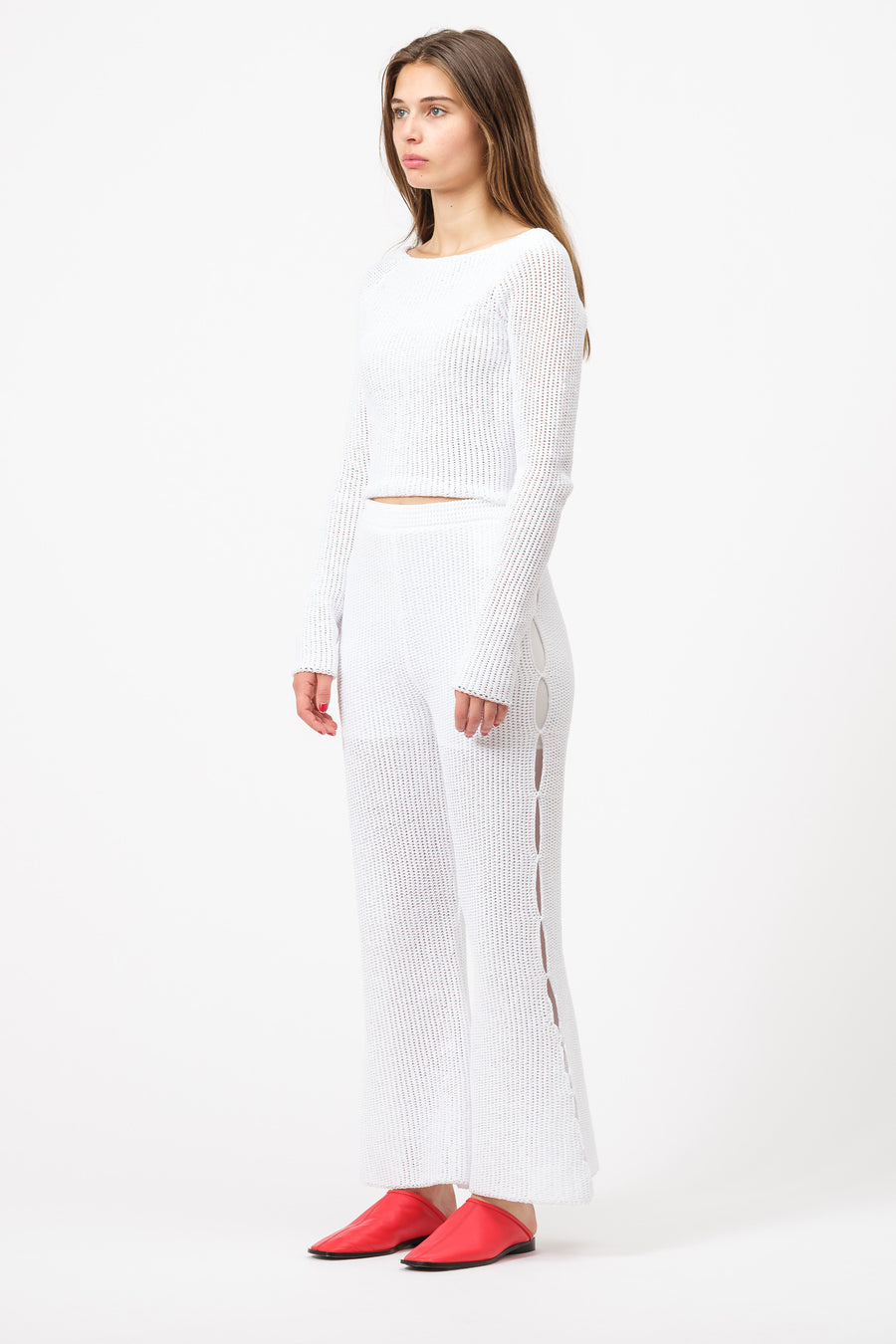 Eckhaus Latta Vining Apron Sweater in Paper Mache White - Notre