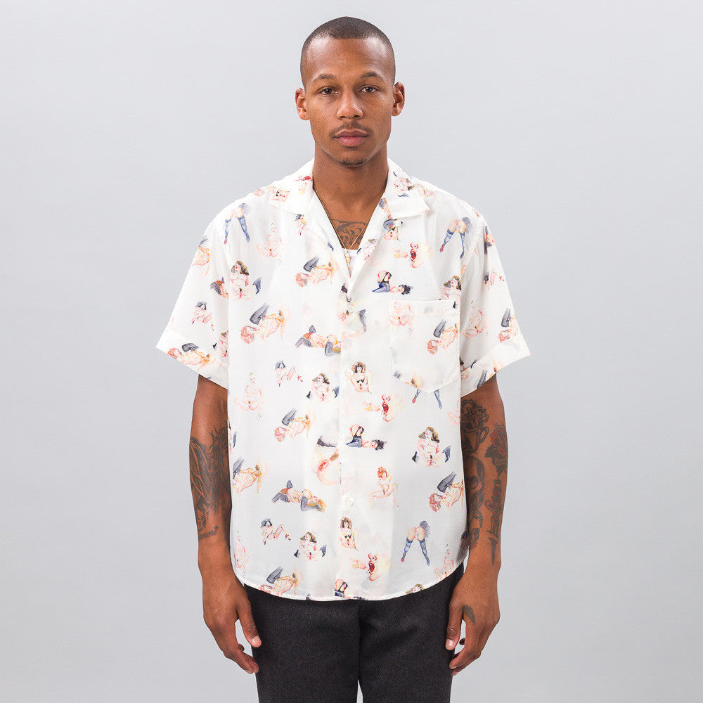 ENFANTS RICHES DÉPRIMÉS - Porn Print Short Sleeve Shirt in White - Notre - 1