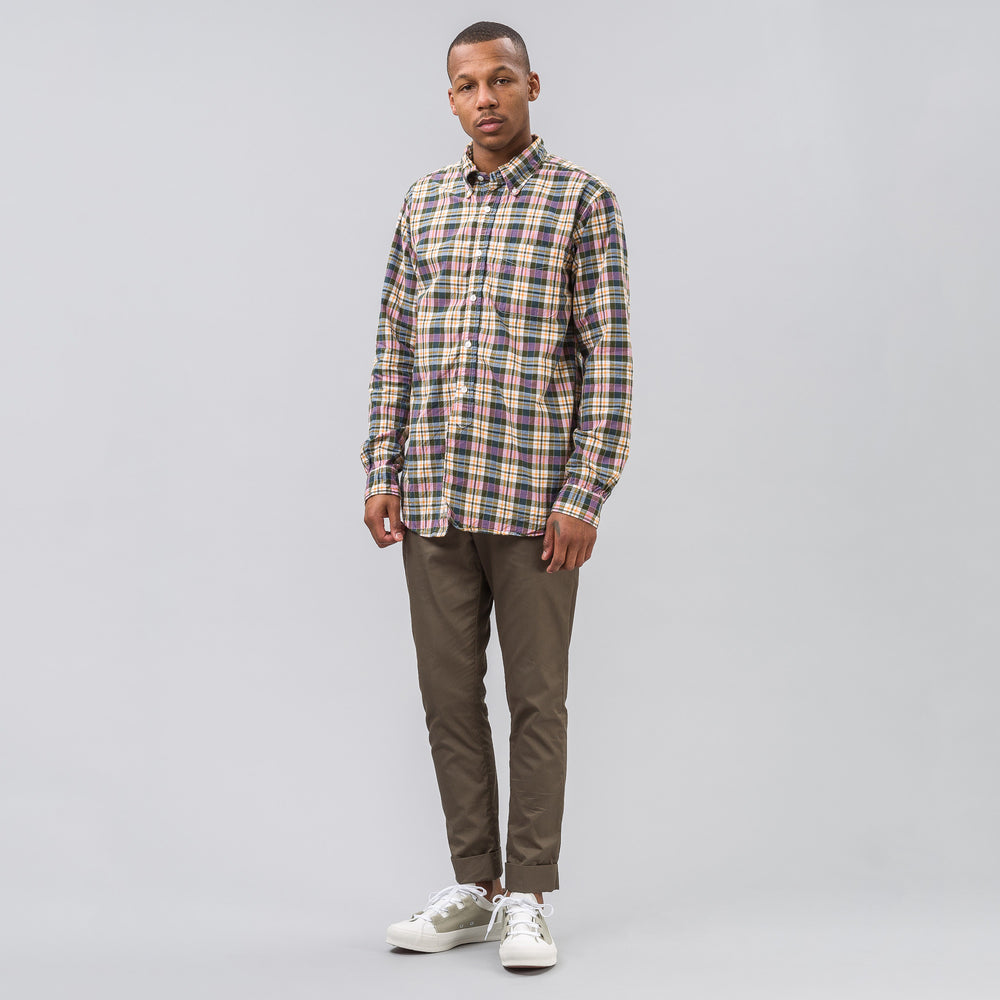 Engineered Garments 19th Century BD Shirt in Pink/Olive Plaid - Notre