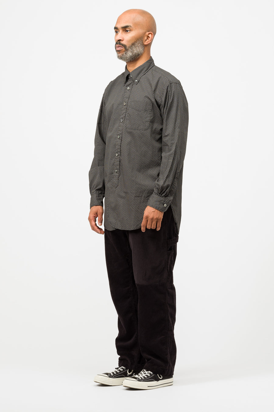Engineered Garments 19 Century BD Shirt in Black Cotton Mini Foulard - Notre