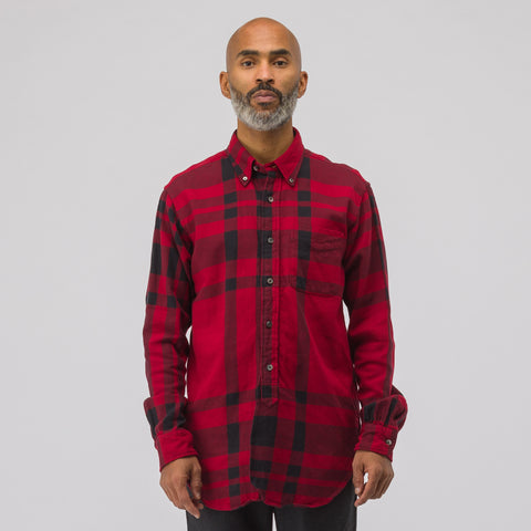 Engineered Garments 19th Century BD Shirt Plaid in Red/Black - Notre