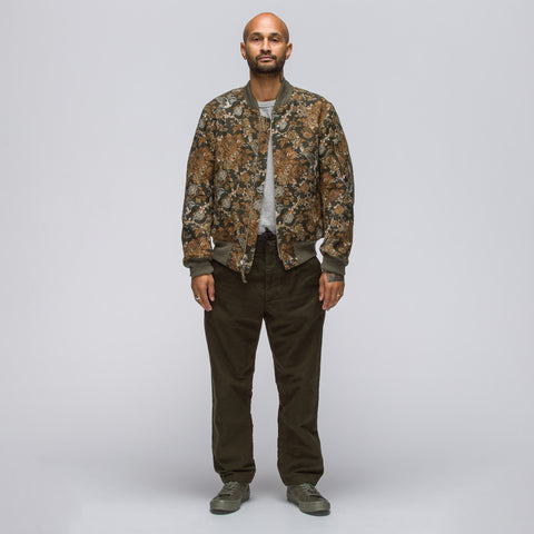 Engineered Garments Aviator Jacket in Olive Hummingbird Jacquard - Notre