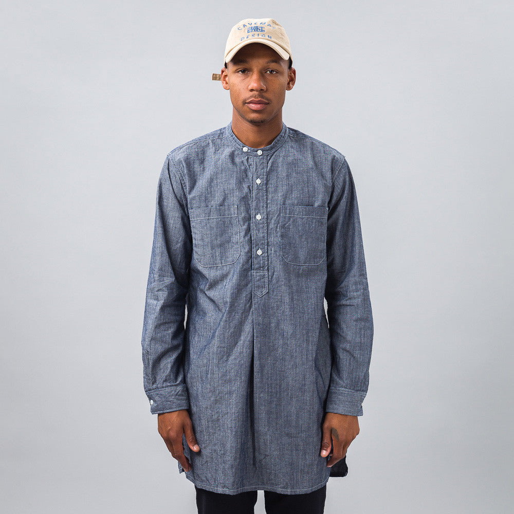 Engineered Garments - Banded Collar Long Shirt in Blue Chambray - Notre - 1