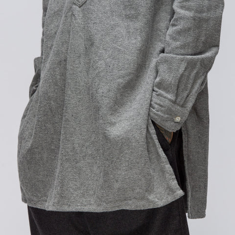 Engineered Garments Banded Collar Long Shirt in Heather Grey Solid Flannel - Notre