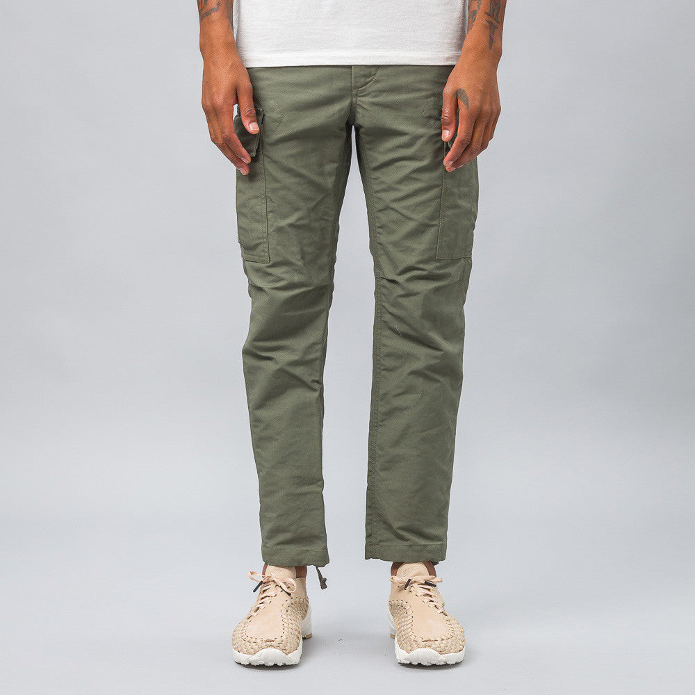 Engineered Garments BDU Pant in Olive Double Cloth Model Shot
