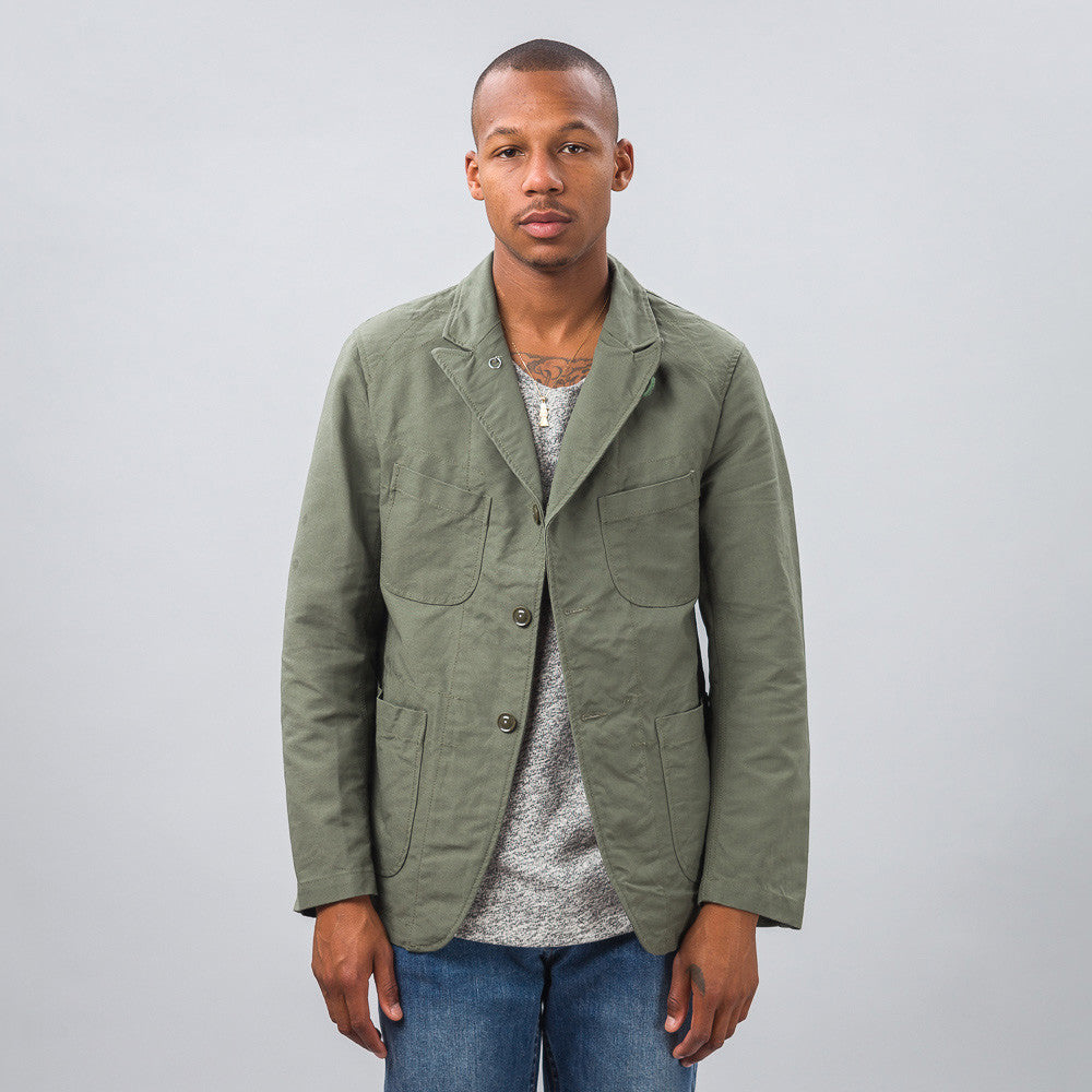 Engineered Garments Bedford Jacket in Olive Double Cloth Model Shot