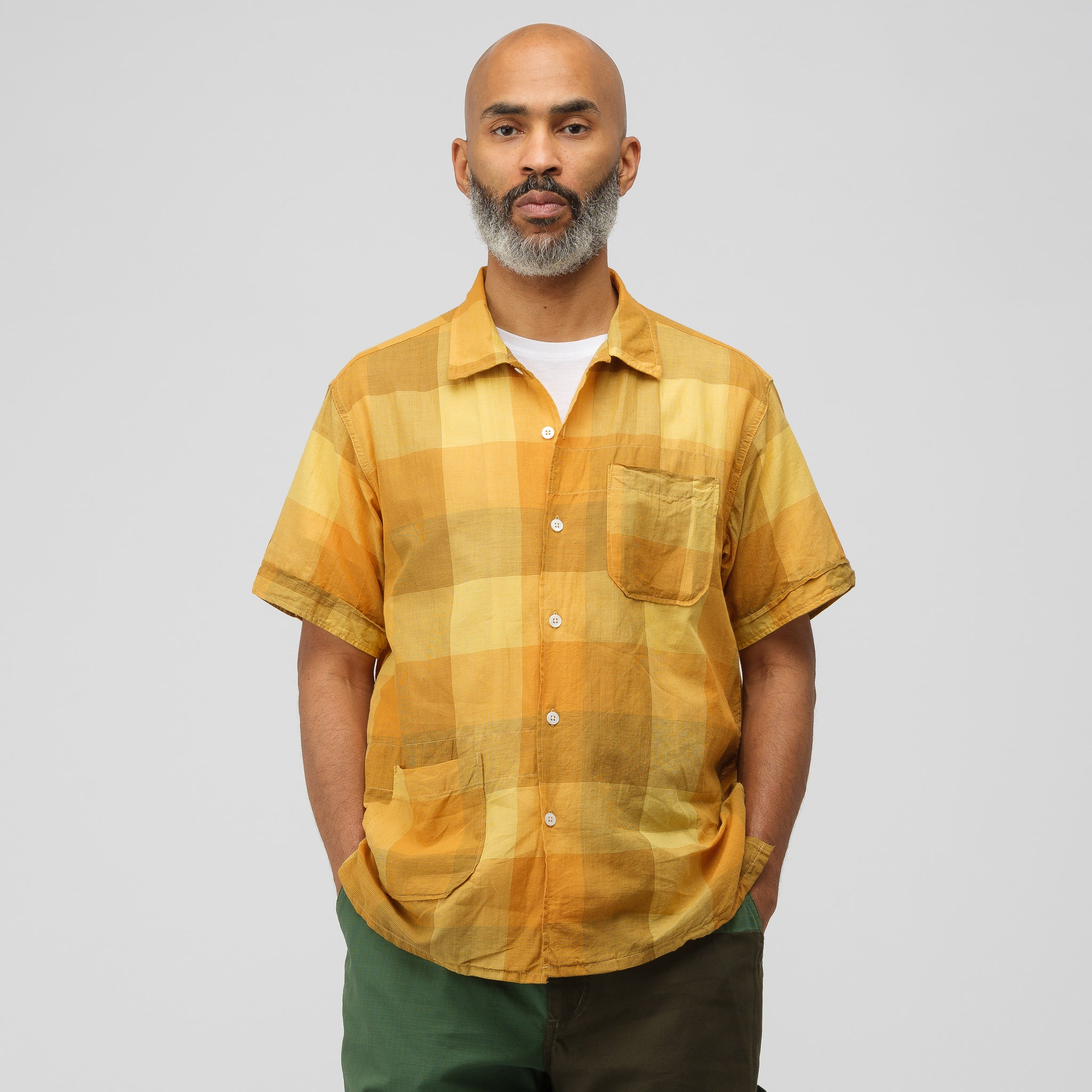 Camp Shirt in Gold Block Check