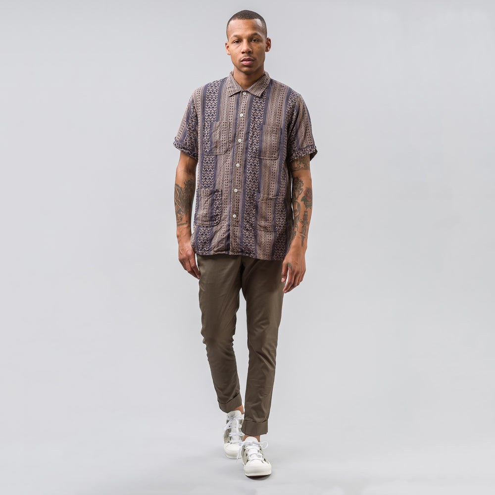 Engineered Garments Camp Shirt in Khaki/Navy Multi Stripe Jacquard - Notre