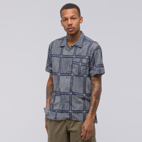 Engineered Garments Camp Shirt in Navy/White Afghan Print - Notre