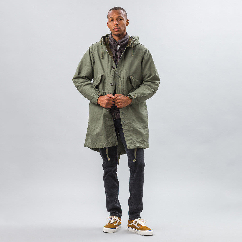 Engineered Garments Highland Parka in Olive Double Cloth Model Shot