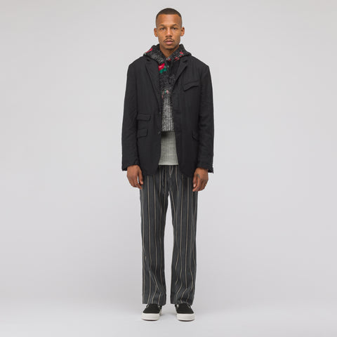 Engineered Garments Hooded Interliner in Black/Red/Grey - Notre