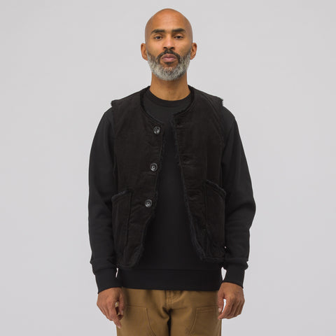 Engineered Garments Corduroy Over Vest in Black - Notre