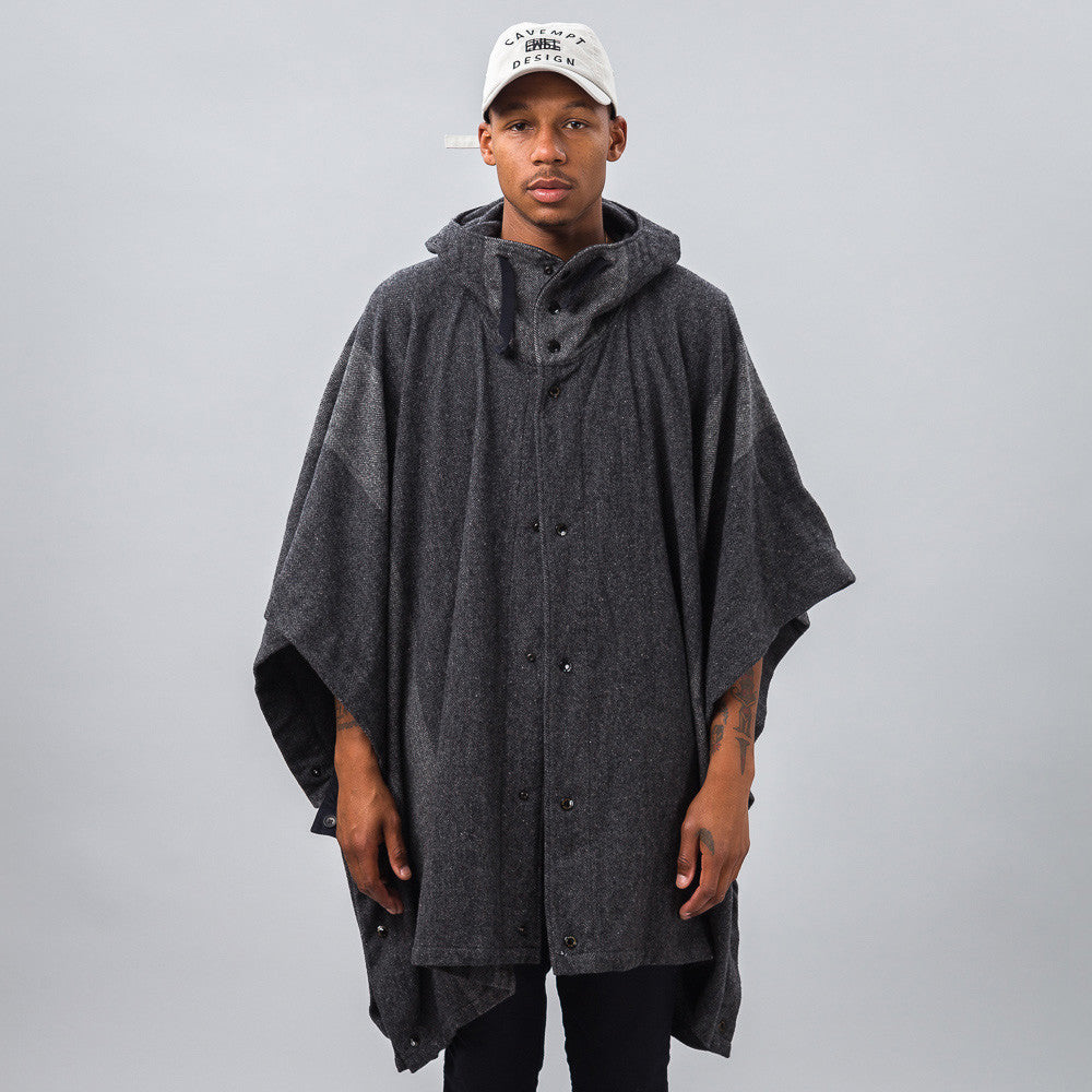Engineered Garments - Poncho in Grey Herringbone - Notre - 1