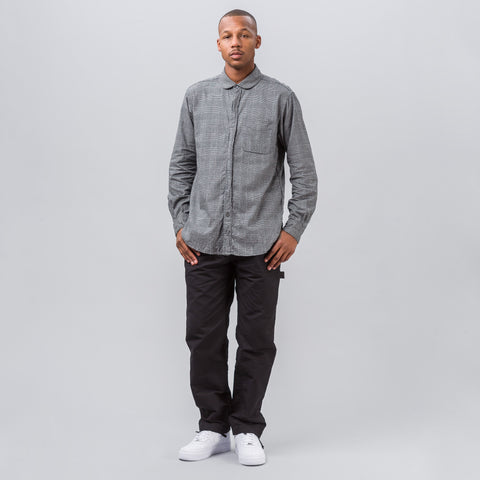 Engineered Garments Rounded Collar Shirt in Dark Grey Glen Plaid - Notre