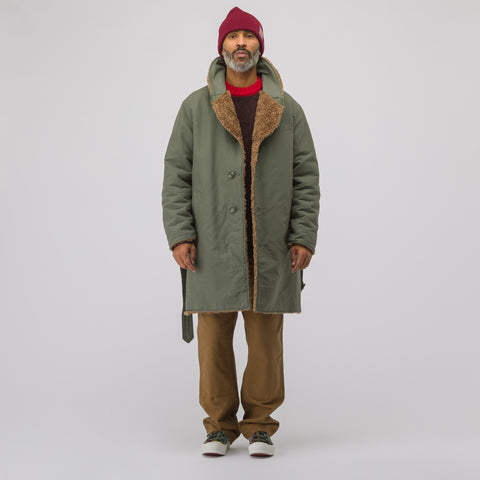 Engineered Garments Shawl Collar Reversible Coat in Olive - Notre