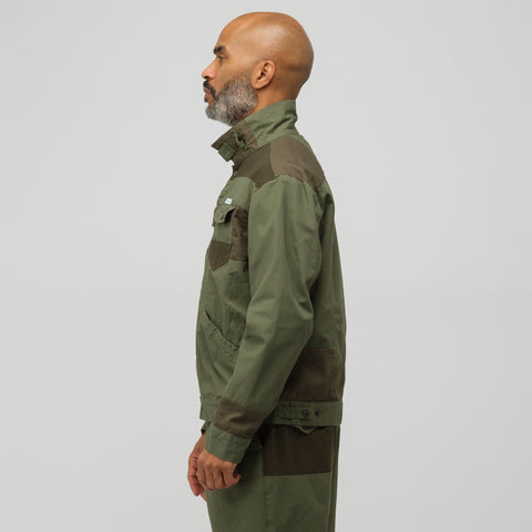 Engineered Garments Trucker Jacket in Olive Cotton Ripstop - Notre