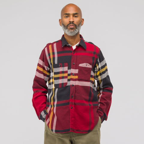 Engineered Garments Twill Work Shirt in Black/Red/Yellow - Notre