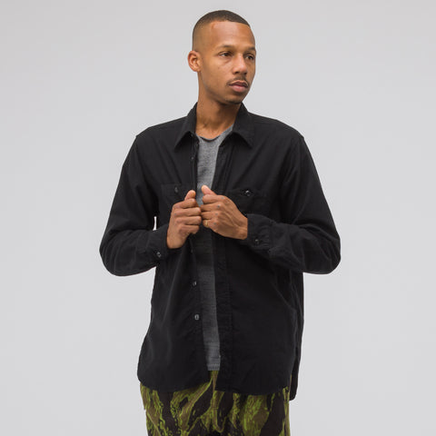 Engineered Garments Work Shirt in Black Flannel - Notre