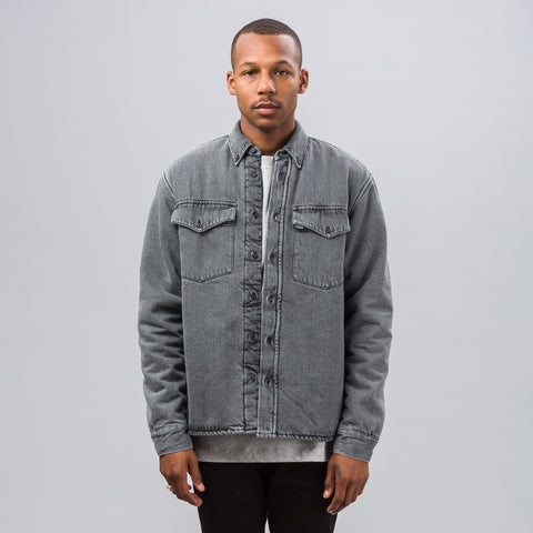 Gosha Rubchinskiy Faux Fur Denim Over-Shirt in Washed Black - Notre