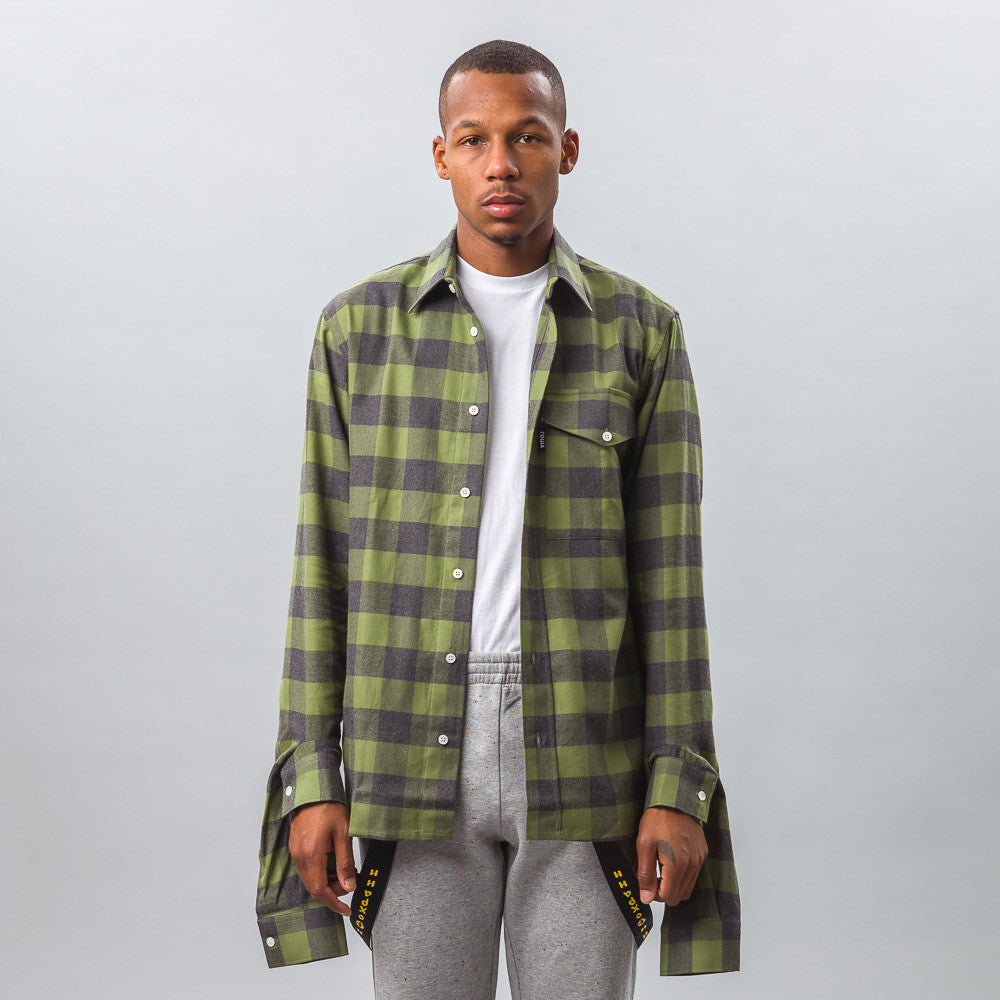 Gosha Rubchinskiy Cotton Shirt with Double Cuff in Green Check