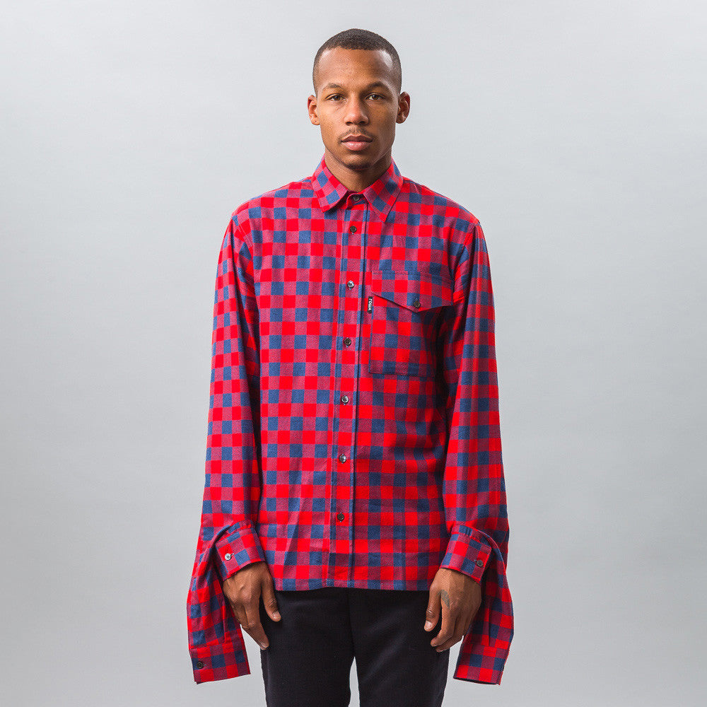 Gosha Rubchinskiy Cotton Shirt with Double Cuff in Red Check
