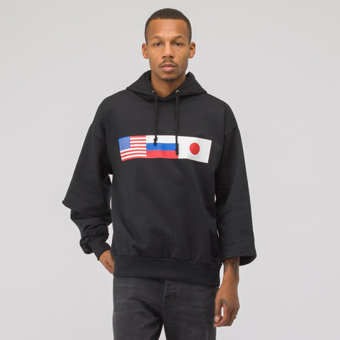 Gosha Rubchinskiy Flag Hooded Sweatshirt in Black - Notre