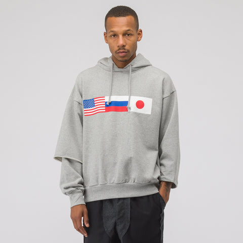 Gosha Rubchinskiy Flag Hooded Sweatshirt in Grey - Notre