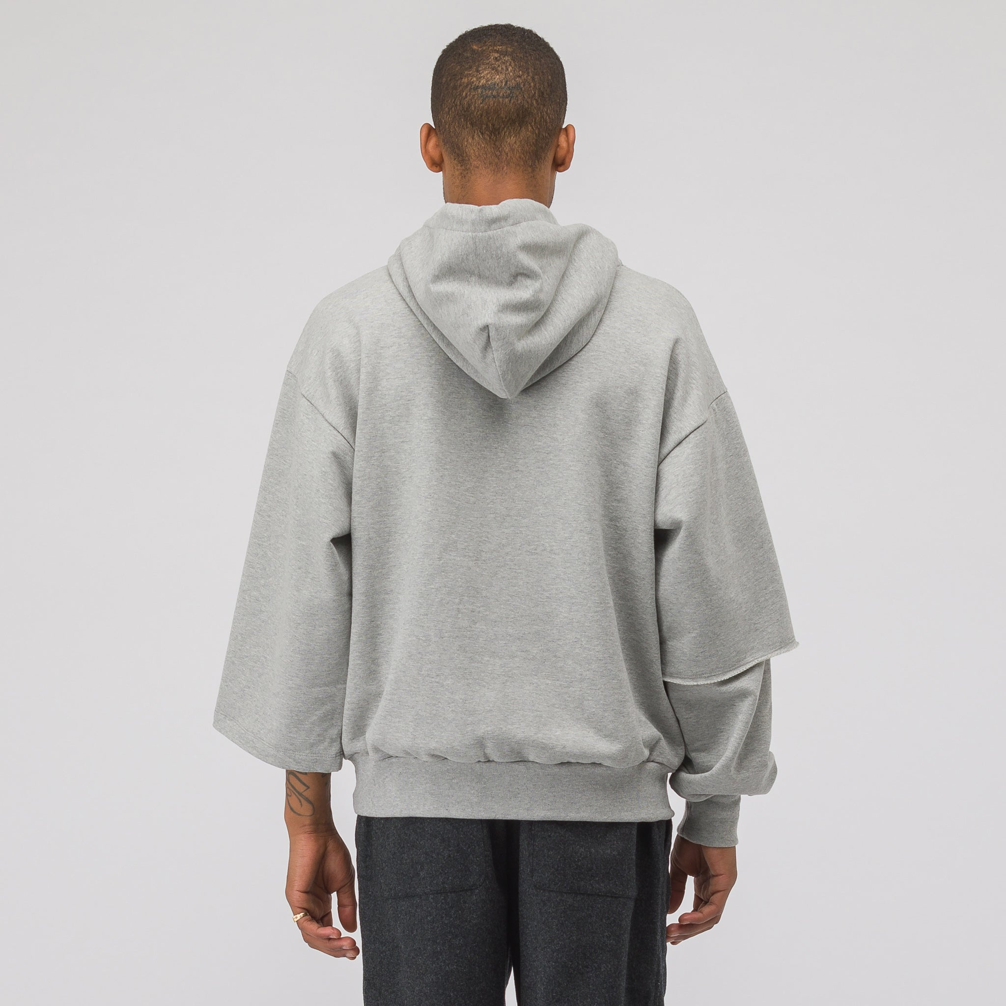 Flag Hooded Sweatshirt in Grey