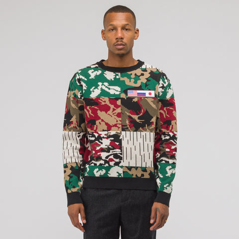 Gosha Rubchinskiy Jacquard Knit Sweater in Camo Multi - Notre