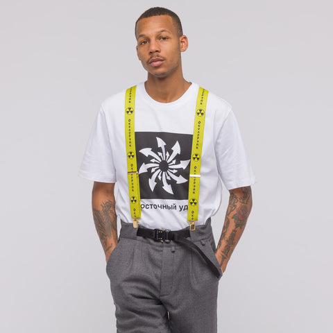 Gosha Rubchinskiy Printed Suspenders in Yellow - Notre