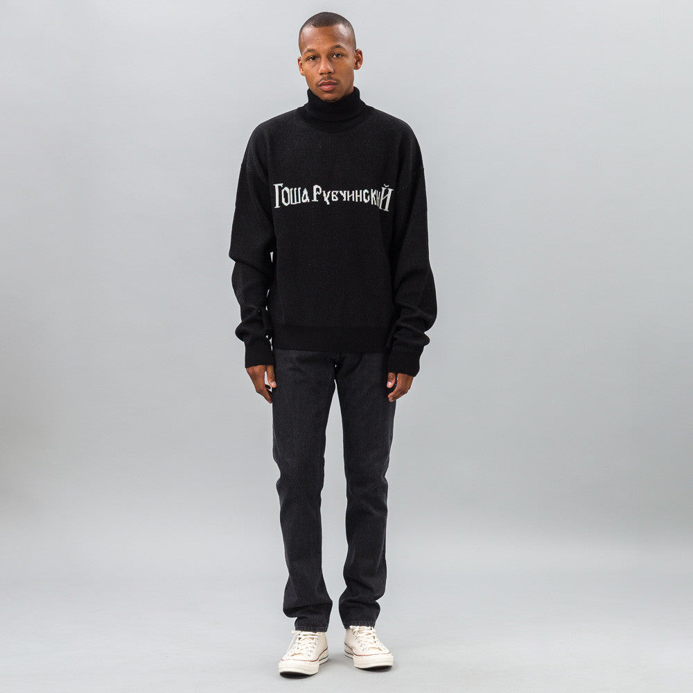 Gosha Rubchinskiy Oversized Sweater with Double Cuff in Black/White