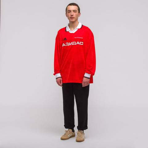 Gosha Rubchinskiy x Adidas Long Sleeve Jersey Top in Red - Notre
