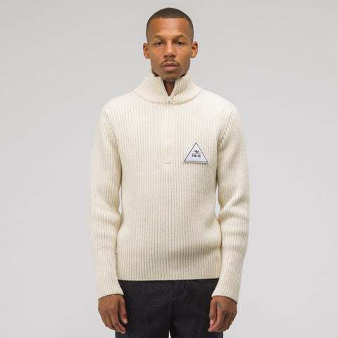 Gosha Rubchinskiy Zip Collar Sweater in Natural - Notre