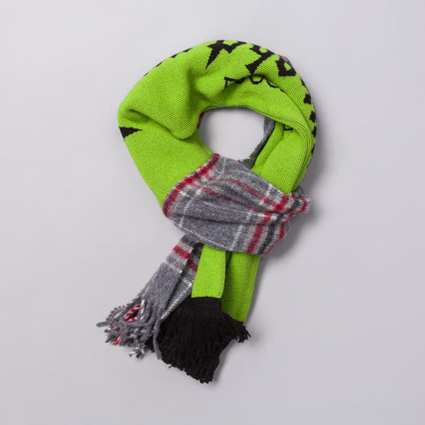 Gosha Rubchinskiy Mix Check Football Scarf in Neon Green - Notre