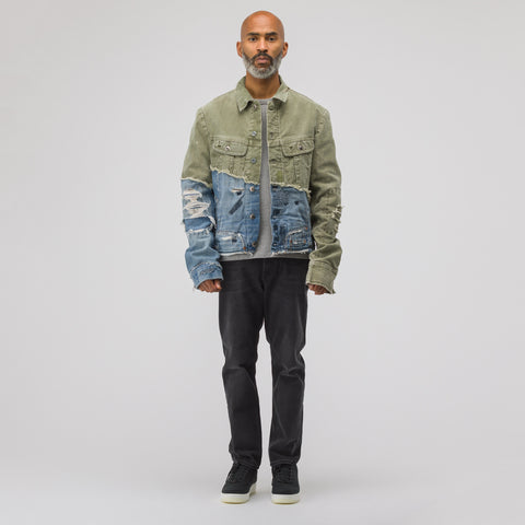 Greg Lauren 50/50 Army Duffle Vintage Denim Trucker Jacket in Army/Blue - Notre