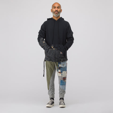 Greg Lauren 50/50 Fleece/Canvas Hoodie in Black - Notre