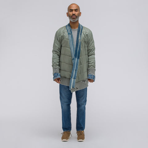 Greg Lauren Army Nylon/Indigo Stripe Puffy Kimono in Army Indigo - Notre